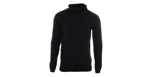 Pánský černý vzorovaný svetr s límcem Gaudí