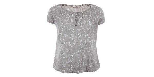 Dámské volné šedé tričko s květinami Gaudí