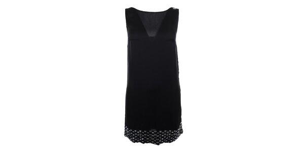 Dámské černé šaty s kamínkovým lemem Gaudí