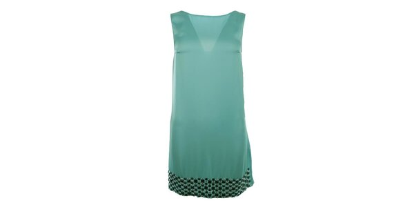 Dámské modré šaty s kamínkovým lemem Gaudí