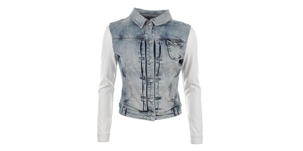 Dámská džínová bunda s bílými rukávy Gaudí