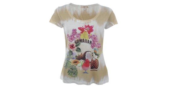 Dámské béžovo-bílé tričko s tropickým potiskem Gaudí