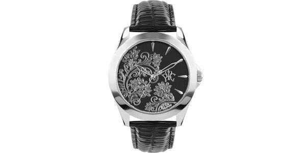 RFS dámské hodinky Lace černé se stříbrným ornamentem