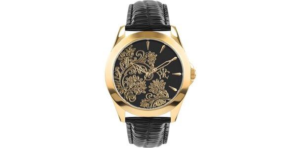 RFS dámské hodinky Lace černé se zlatým ornamentem