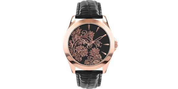 RFS dámské hodinky Lace černé s měděným ornamentem