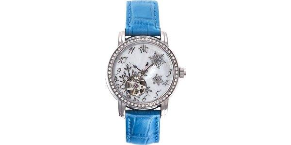 RFS dámské hodinky Russian Winter modré se zlatým ornamentem