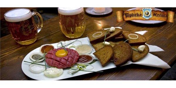 104 Kč za tatarský biftek pro DVĚ osoby, DEVĚT topinek a DVĚ 0,5l piva.
