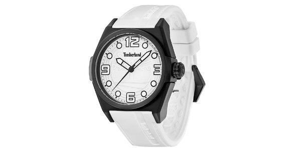 Pánské bílé hodinky s černým kulatým pouzdrem Timberland