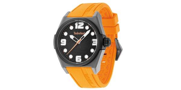 Pánské hodinky s oranžovým řemínkem Timberland