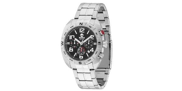 Pánské ocelové hodinky s černým ciferníkem Timberland