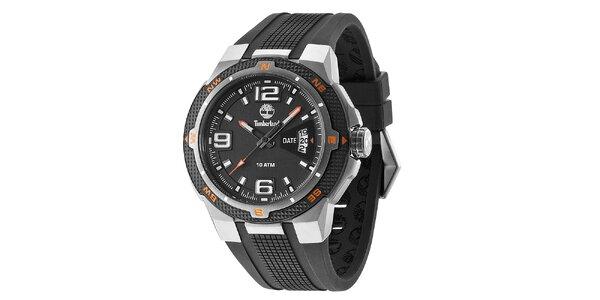 Pánské černé hodinky se silikonovým řemínkem Timberland