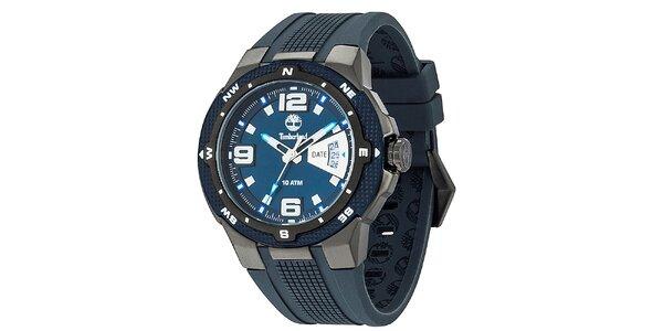 Pánské modré hodinky se silikonovým řemínkem Timberland