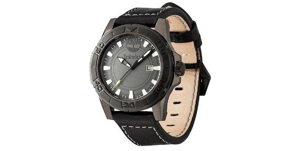 Pánské černé ocelové hodinky s koženým prošívaným řemínkem Timberland