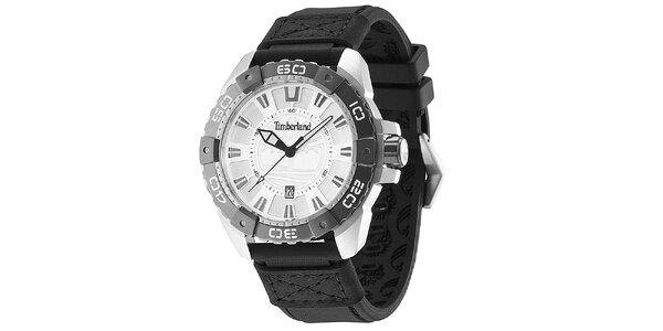 Pánské hodinky s černým gumovým řemínkem Timberland