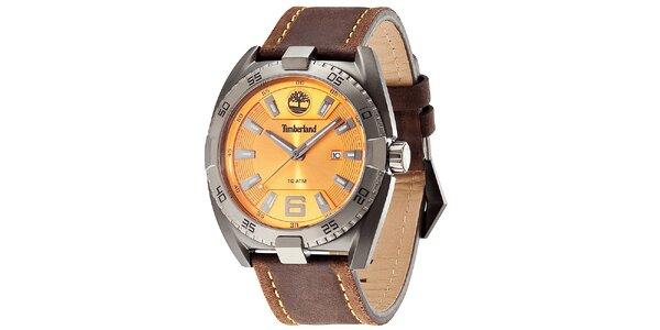 Pánské elegantní hodinky z oceli s koženým řemínkem Timberland