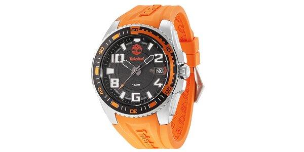 Pánské ocelové hodinky s oranžovým gumovým řemínkem Timberland