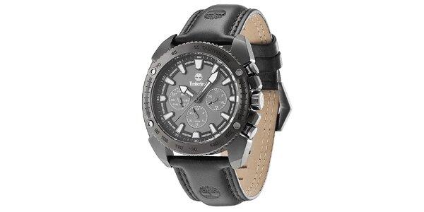 Pánské černé ocelové hodinky s koženým řemínkem Timberland