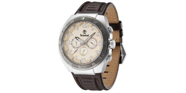 Pánské hodinky z oceli s koženým hnědým řemínkem Timberland
