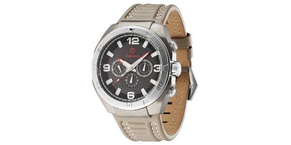 Pánské hodinky z oceli s koženým béžovým řemínkem Timberland fbd2bda806