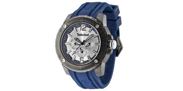 Pánské ocelové hodinky s modrým řemínkem Timberland