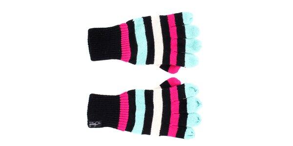 Dámské černé rukavice s barevnými pruhy Fundango