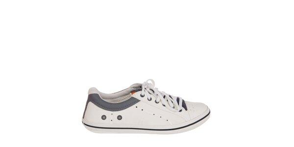 Pánské bílo-šedé kožené tenisky Crocs