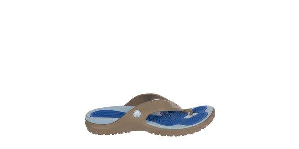 Pánské khaki-modré žabky Crocs s masážní stélkou