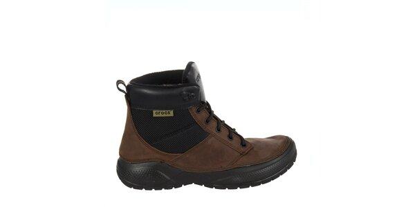 Pánské hnědo-černé kožené boty Crocs