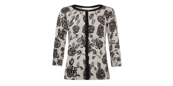 Dámský šedý svetřík s růžičkami a zapínáním na knoflíky Uttam Boutique