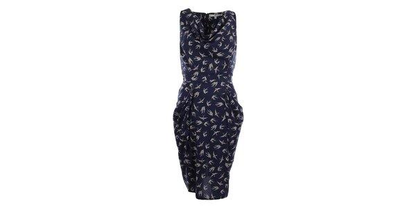 Dámské tmavě modré šaty s ptáčky Uttam Boutique