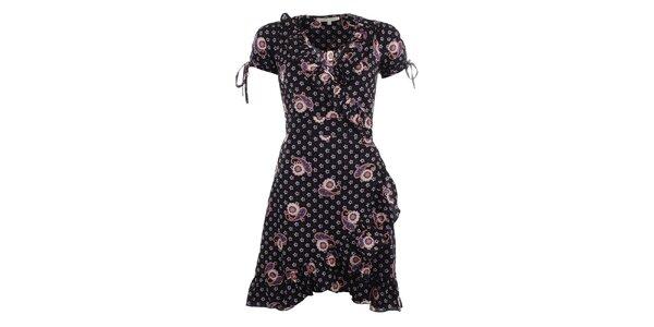 Dámské černé zavinovací šaty s volány Uttam Boutique