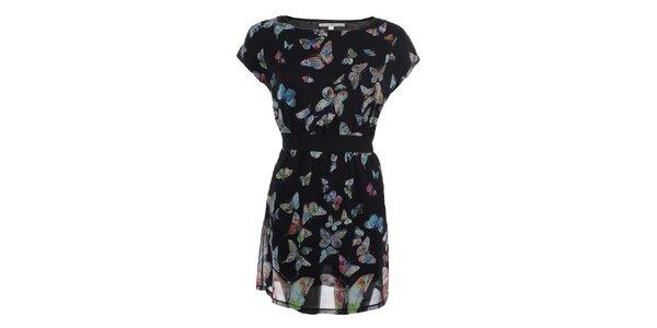 Dámské černé šaty s barevnými motýlky Uttam Boutique