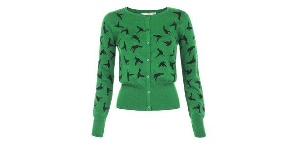 Dámský zelený svetřík s kolibříky Uttam Boutique