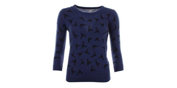 Dámský modrý svetřík s ptáčky Uttam Boutique