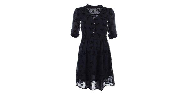 Dámské tmavě modré šaty s potiskem motýlů Uttam Boutique