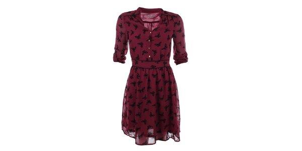 Dámské červené šaty s potiskem motýlků Uttam Boutique