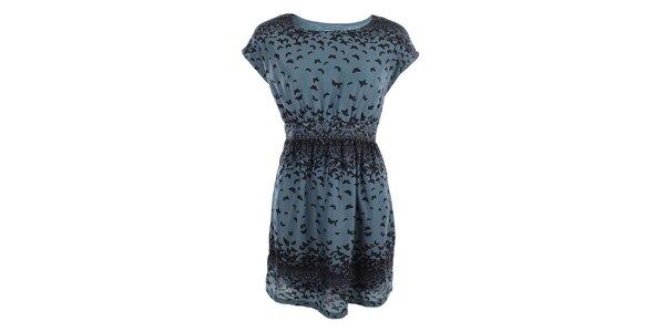 Dámské petrolejové šaty s motýlky Uttam Boutique