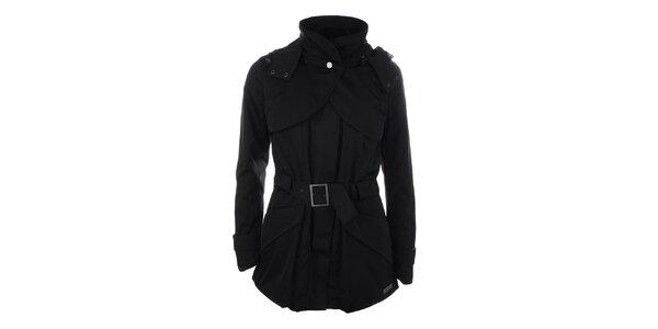 Dámská černá bunda s páskem a kapucí Pietro Filipi
