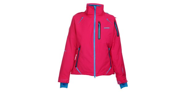 Dámská sytě růžová lyžařská bunda Envy s modrými zipy