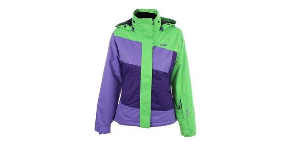 Dámská fialovo-zelená lyžařská bunda s kapucí Envy