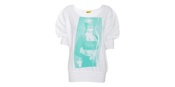 Bílé dámské tričko Humdrum Pixie se zeleným potiskem