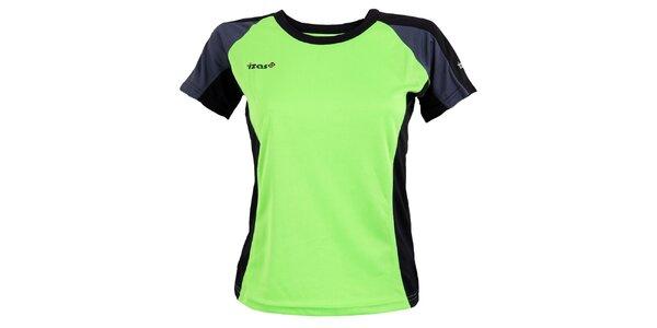 Dámské zelené funkční triko s tmavě šedými prvky Izas
