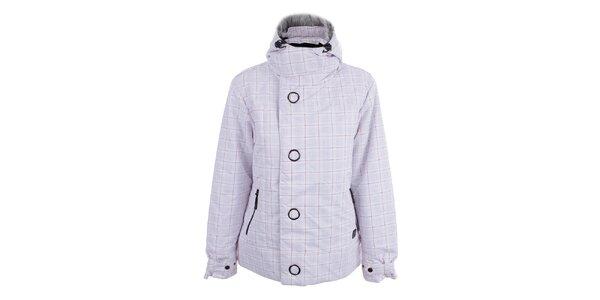 Dámská bílá lyžařská bunda s fuchsiovým kostkovaným vzorem Joluvi