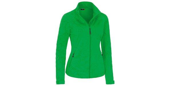 Dámská zelená softshellová bunda se vzorem Maier