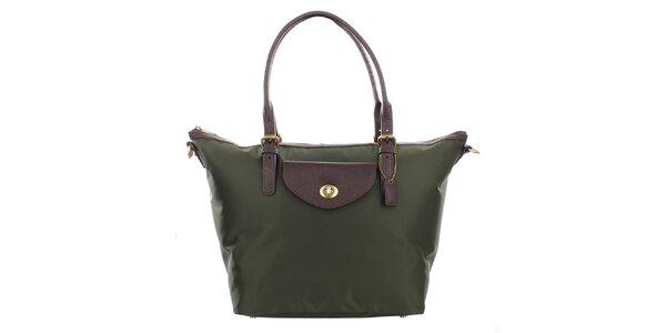 Dámská zelená kabelka s hnědými uchy Clarks
