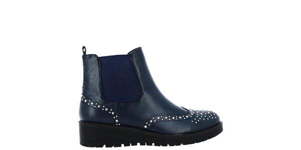 Dámské tmavě modré boty s cvočky Shoes and the City