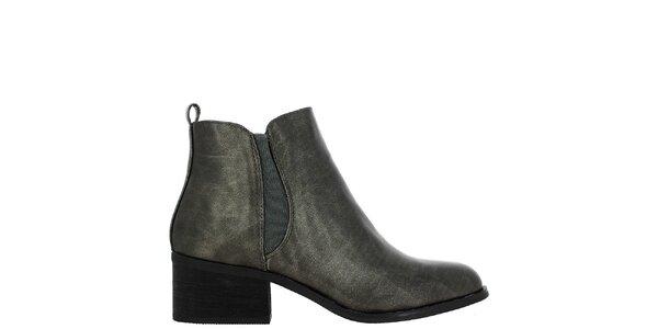 Dámské antracitové kotníčkové boty na zip Vanessa Wu