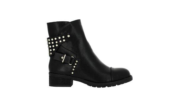 Dámské černé kotníkové boty s cvočky Vanessa Wu