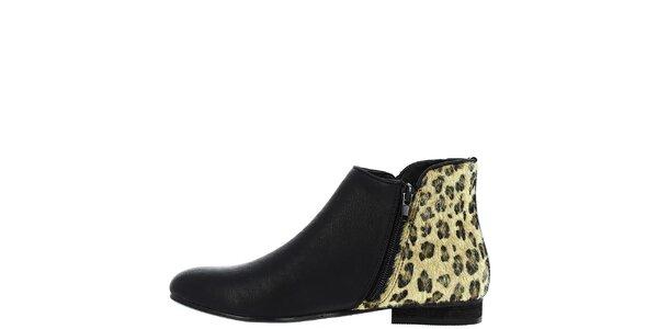 Dámské černé kotníčkové boty s leopardí patou Vanessa Wu