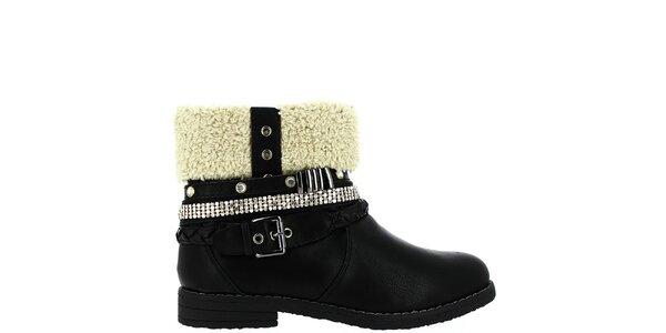 Dámské černé boty s kožíškem Shoes and the City